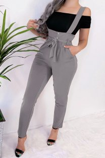Grey Polyester Bib pants Sleeveless High bandage Solid Pocket pencil Pants  Pants MLT07020