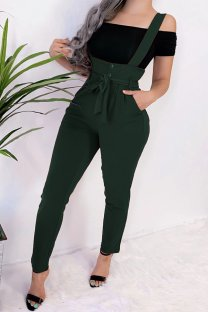 Green Polyester Bib pants Sleeveless High bandage Solid Pocket pencil Pants  Pants MLT07020