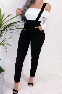 Black Polyester Bib pants Sleeveless High bandage Solid Pocket pencil Pants  Pants MLT07020