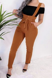 Khaki Polyester Bib pants Sleeveless High bandage Solid Pocket pencil Pants  Pants MLT07020