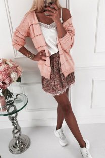 Pink O Neck Slim fit Patchwork Solid knit Pure Long Sleeve  Sweaters & Cardigans MLT07044