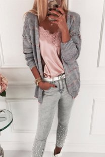 Grey O Neck Slim fit Patchwork Solid knit Pure Long Sleeve  Sweaters & Cardigans MLT07044