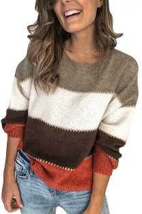 As Show O Neck Patchwork Striped Cotton Striped Long Sleeve  Sweaters & Cardigans MLT07023