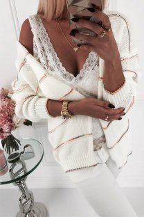 White O Neck Slim fit Patchwork Solid knit Pure Long Sleeve  Sweaters & Cardigans MLT07044