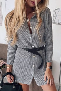 Grey O Neck Patchwork Solid Cotton Pure Long Sleeve  Sweaters & Cardigans MLT07086