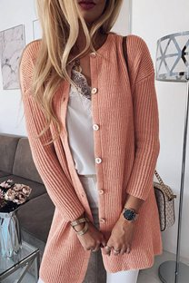 Pink O Neck Patchwork Solid Cotton Pure Long Sleeve  Sweaters & Cardigans MLT07086