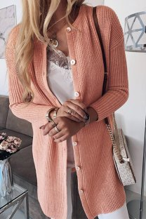 As Show O Neck Patchwork Solid Button Cotton Pure Long Sleeve  Sweaters & Cardigans MLT07111