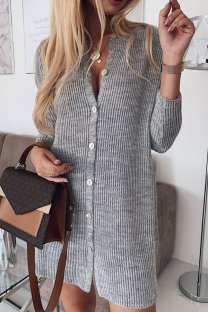 Grey O Neck Patchwork Solid Button Cotton Pure Long Sleeve  Sweaters & Cardigans MLT07111