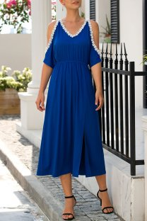 Blue Polyester adult Sexy Fashion Off The Shoulder Bat sleeve Half Sleeves V Neck A-Line Mid-Calf bandage hollow out Solid Patchwork  Midi Dresses MDL04003