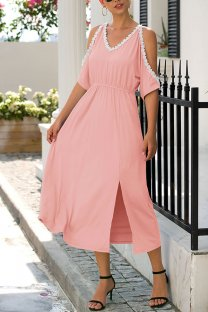 Pink Polyester adult Sexy Fashion Off The Shoulder Bat sleeve Half Sleeves V Neck A-Line Mid-Calf bandage hollow out Solid Patchwork  Midi Dresses MDL04003