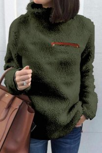 Army Green Turtleneck Slim fit Solid Zippered Patchwork Polyester Pure Long Sleeve  Sweaters & Cardigans CLX19058