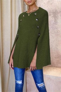 Army Green knitting O Neck Long Sleeve asymmetrical Patchwork Button Solid  Tops & Tees CLX19090