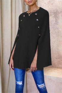 Black knitting O Neck Long Sleeve asymmetrical Patchwork Button Solid  Tops & Tees CLX19090