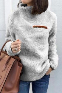 Light Gray Turtleneck Slim fit Solid Zippered Patchwork Polyester Pure Long Sleeve  Sweaters & Cardigans CLX19058