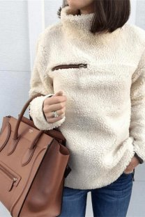 Apricot Turtleneck Slim fit Solid Zippered Patchwork Polyester Pure Long Sleeve  Sweaters & Cardigans CLX19058