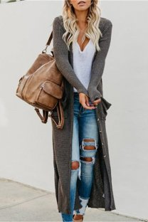 Dark Gray cardigan Button Patchwork Solid knit Pure Long Sleeve  Sweaters & Cardigans CLX19069