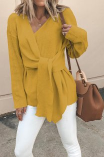 Yellow Polyester V Neck Long Sleeve asymmetrical Solid Bandage  Tops & Tees CLX19087