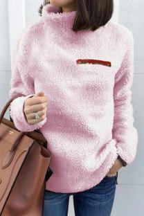 Pink Turtleneck Slim fit Solid Zippered Patchwork Polyester Pure Long Sleeve  Sweaters & Cardigans CLX19058