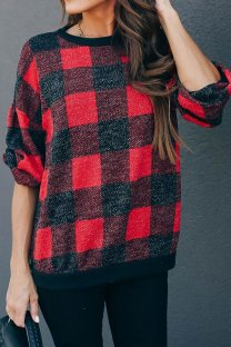 Black and red Polyester O Neck Long Sleeve Plaid Patchwork  Tops & Tees KL11016