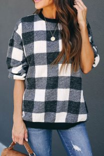 Black and white Polyester O Neck Long Sleeve Plaid Patchwork  Tops & Tees KL11016