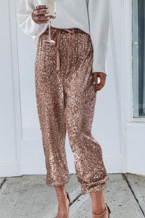 Gold Polyester Drawstring Sleeveless Mid Sequin Patchwork bandage ruffle Old Loose Pants  Pants KL11030
