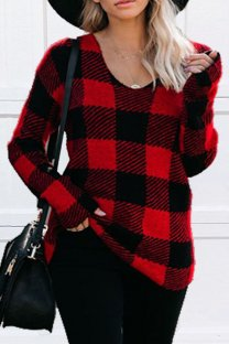 Black and red Polyester V Neck Long Sleeve Plaid Old Patchwork  Tops & Tees KL11021