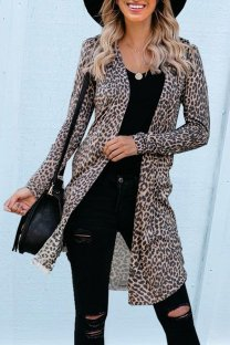 Leopard print V Neck Leopard Patchwork Polyester Others Long Sleeve  Sweaters & Cardigans KL11028