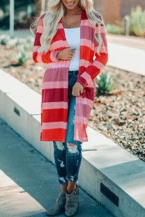 Red cardigan Print Striped Polyester Print Striped Long Sleeve  Sweaters & Cardigans ON10003
