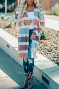 Pink cardigan Print Striped Polyester Print Striped Long Sleeve  Sweaters & Cardigans ON10003