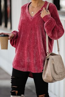 Wine Red Polyester V Neck Long Sleeve Solid asymmetrical Patchwork Old  Tops & Tees KL11023