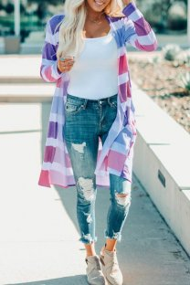 purple cardigan Print Striped Polyester Print Striped Long Sleeve  Sweaters & Cardigans ON10003