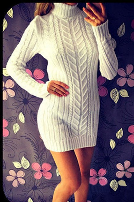 Cream white Turtleneck Solid Cotton Pure Long Sleeve  Sweaters & Cardigans MMY01017