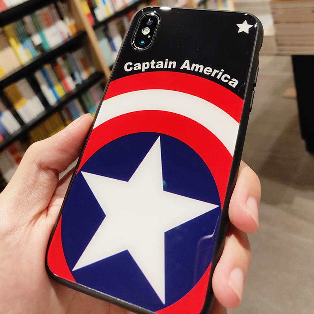 Tide brand Supreme Marvel Tempered Glass iPhone Case Super hero Captain  America material phone Cover