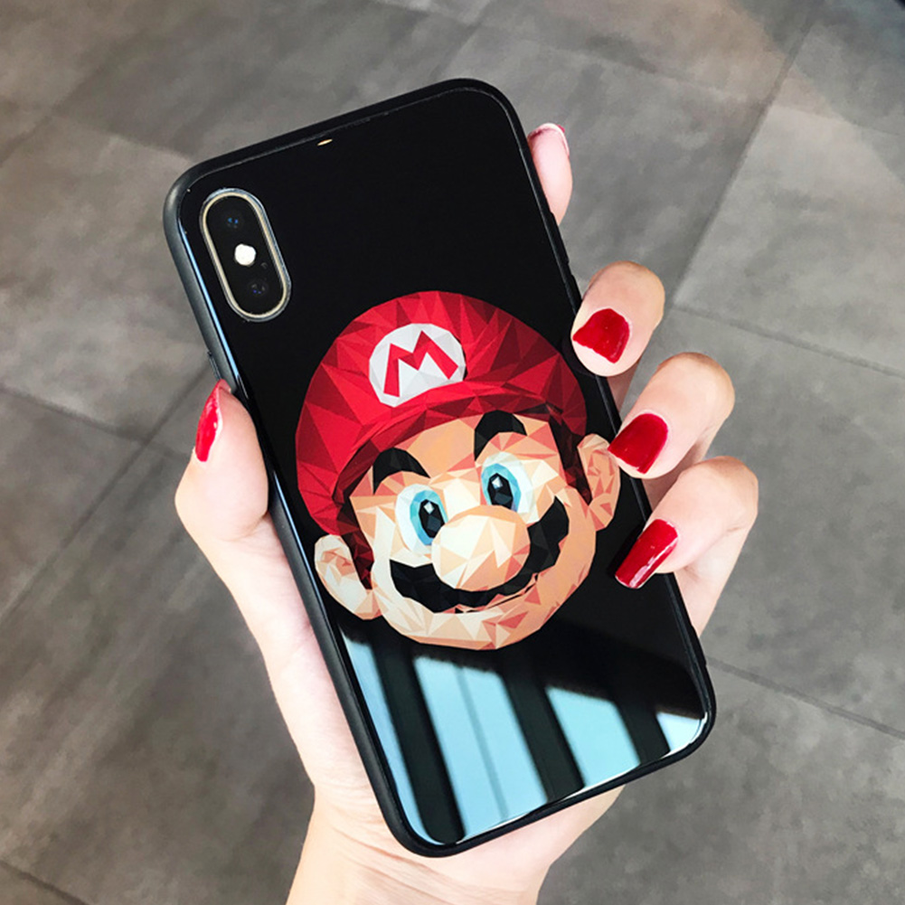 Super Mario iPhone case Tempered glass Silicone Soft Edge Apple iPhone X  XsMax Case Cover