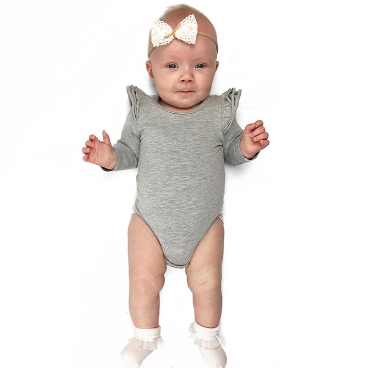 Multicolor cotton girls bodysuit baby ruffle long sleeve romper