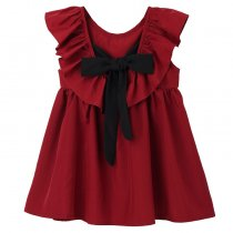 Summer new pure color bow collar kids party frocks soft girls dress