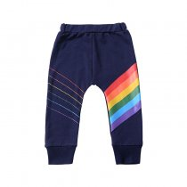 Fashion rainbow printed kids trousers cotton kids pants