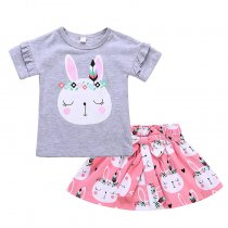 Summer Baby Girl Printed Clothing Girls Short Sleeve Sets