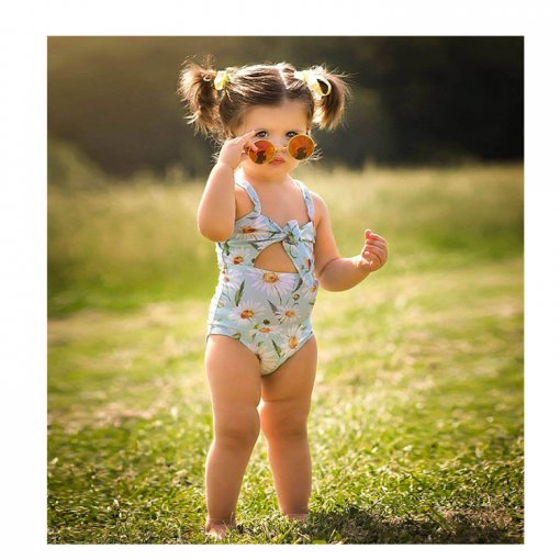 Hot selling floral printed kids one-piece swimwear little girl swimsuit