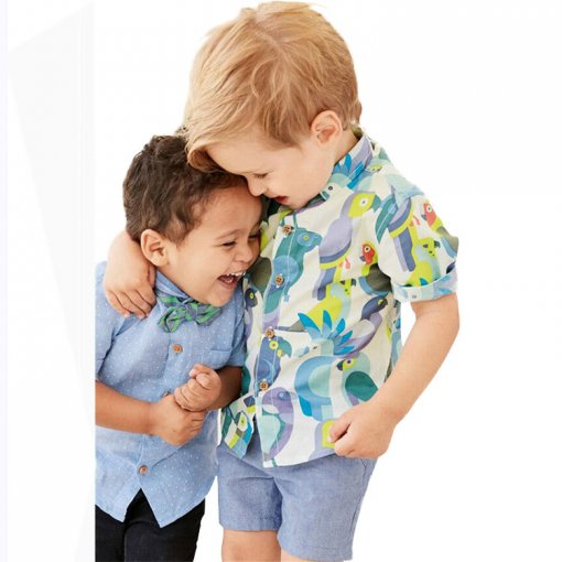 Summer Children Clothes Boys Parrot Print Short Sleeve Shirt And Shorts Sets