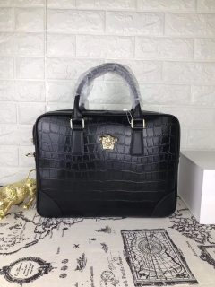 Versace TOP Black New Leather Man Handbag Briefcase