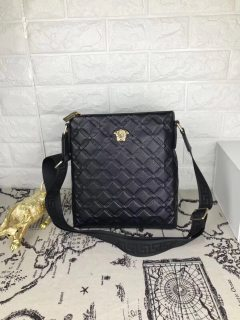 Versace Black New Classic Leather Man Shoulder Bag Crossbody Bag