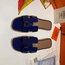 Hermes HOT Fashion Lady Patent Leather Flat Slippers