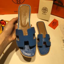 Hermes new classic high quality female ostrich pattern flat bottom slippers
