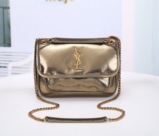 YSL hot woman high quality original leather shoulder bag gold