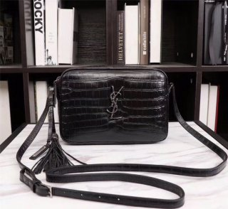 YSL top woman original single cowhide crocodile pattern camera bag shoulder bag