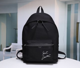 YSL High Quality Canvas Large Black Backpack Bag