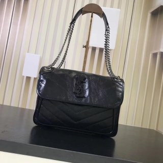 YSL hot new woman original leather wrinkles shoulder bag