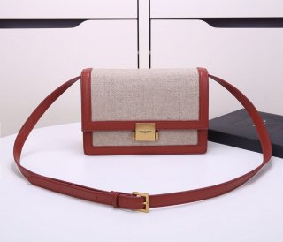 YSL new stewardess bag high quality linen + leather shoulder bag
