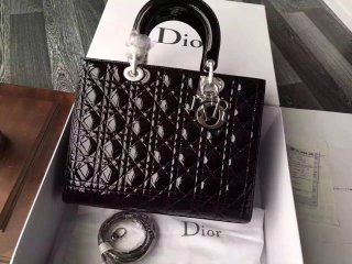 Dior designer high quality patent leather woman shoulder bag gold / silver